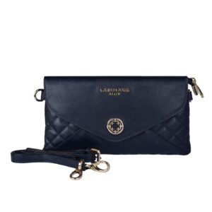 CARO COSA Leather Clutch Bag, Cross Body Bag & Purse For Women & Girls (Navy Blue)